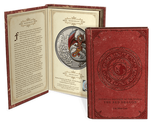 Packaging moneda the red dragon.