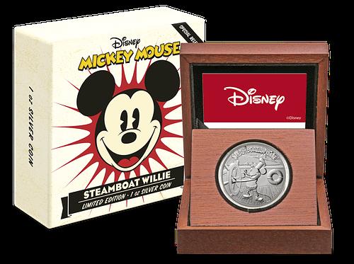 Caja temática y caja de madera con la moneda barco de vapor willie mickey. cartem coins