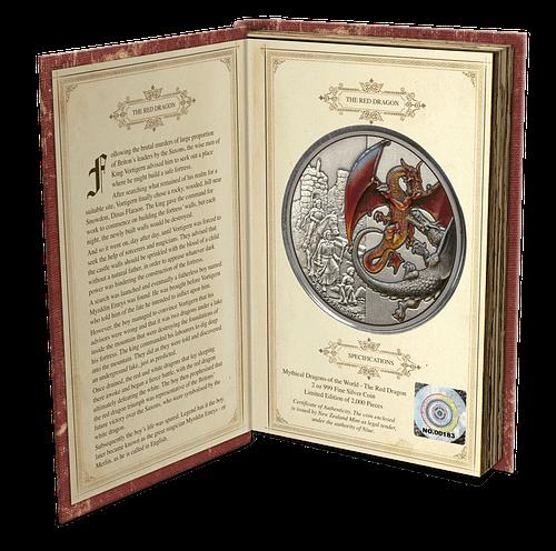 Libro abierto moneda de plata Red Dragon. cARTEm COINS