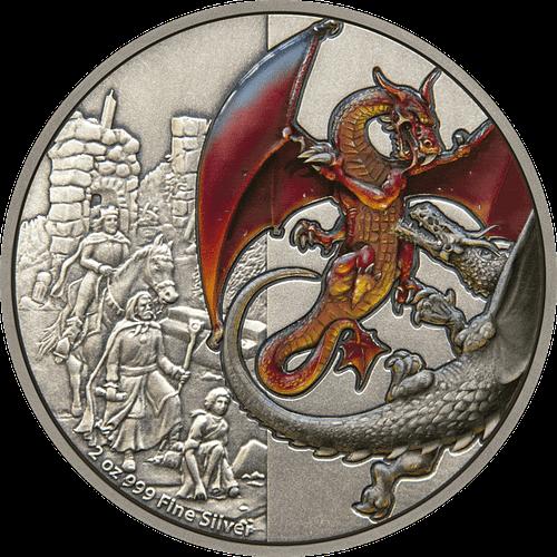 Anverso moneda de plata Red Dragon. cARTEm COINS