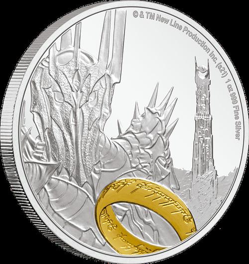 Moneda de plata Sauron. LOTR. Lomo