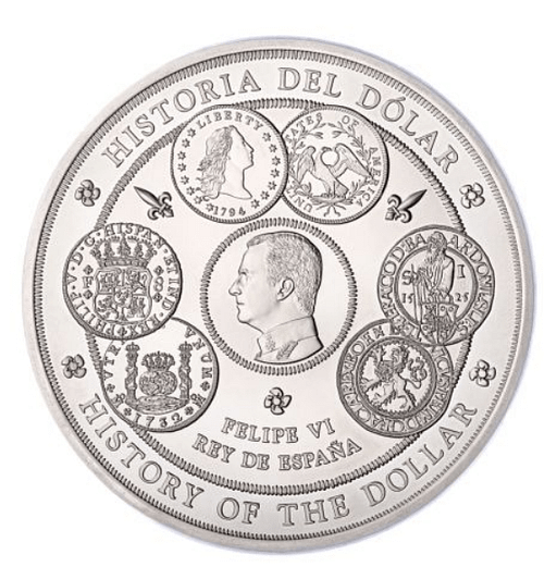 Moneda 1 kilogramo de plata pura Historia del Dólar. Anverso. cARTEm COINS