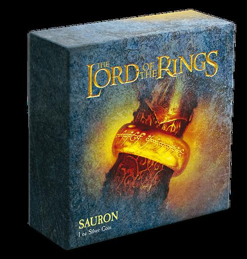 Moneda de plata Sauron. LOTR. Packaging