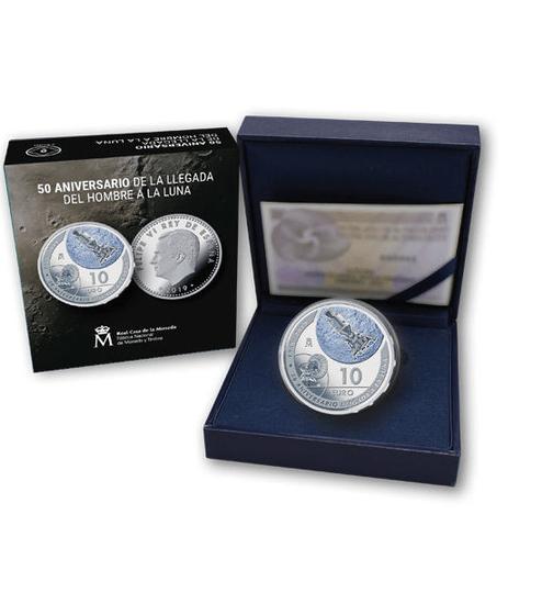 Estuche Moneda de plata España 50 Aniversario de la llegada a la luna. cARTEm COINS