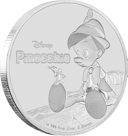 Canto moneda de plata pinocho. cartem coins