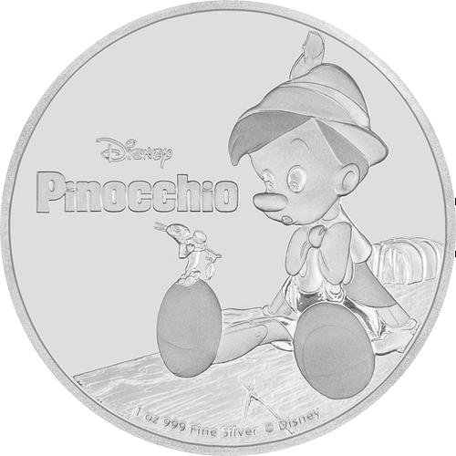 Anverso moneda de plata pinocho. cartem coins