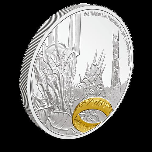 Moneda de plata Sauron. LOTR. Borde