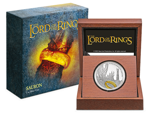 Moneda de plata Sauron. LOTR. Packaging + moneda. Sin fondo