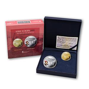 Estuche colección completa de monedas serie europa 2019 renacimiento