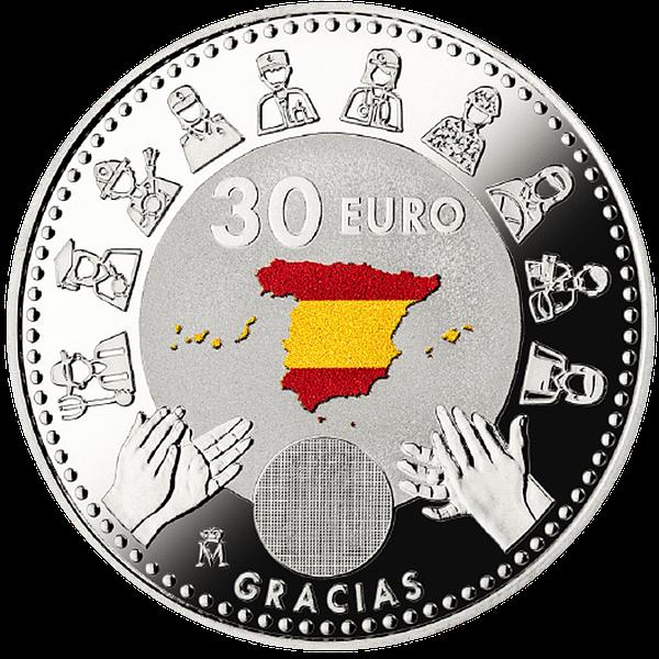 Reverso moneda dedicada a los héroes anónimos del covid 19