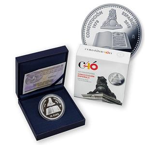 Moneda y cajas. Serie 40 Aniversario de la Constitución Española. 8 reales de plata. cARTEm COINS