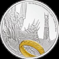 Moneda de plata Sauron. LOTR. Reverso