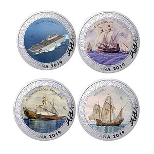 Monedas de plata a color. Historia de la navegación. tercera colección. cartemcoins.