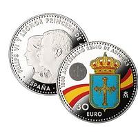 Caras. Moneda de plata 1300 Aniversario del Reino de Asturias.