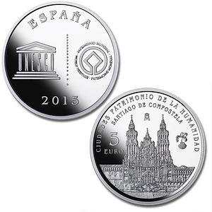 Caras. Moneda Ciudades Patrimonio de la Humanidad. Santiago de Compostela. 5 euro. cARTEm COINS