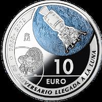 Anverso Moneda de plata España 50 Aniversario de la llegada a la luna. cARTEm COINS