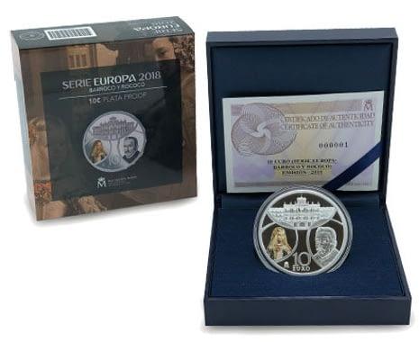 Estuche y caja Moneda 8 reales de plata. Serie Europa 2018. Barroco y Rococó. cARTEm COINS