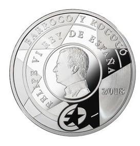Reverso Moneda 8 reales de plata. Serie Europa 2018. Barroco y Rococó. cARTEm COINS