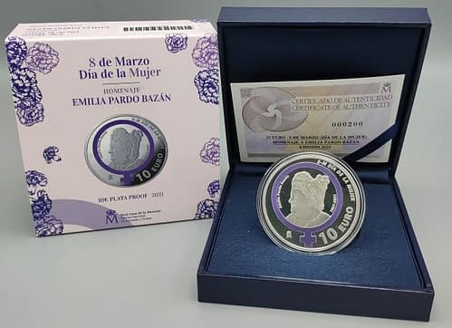 Estuche moneda del 8M Emilia Pardo Bazán