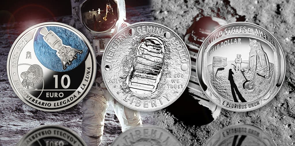 moneda plata aniversario llegada luna